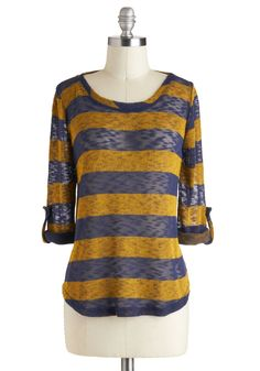 Telegraph Ave Top - Yellow, Blue, Stripes, Casual, Long Sleeve, Sheer, Menswear Inspired, Mid-length