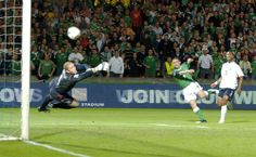 David Healy scores a famous goal for Northern Ireland in 2005 against England as they overcome their UK rivals