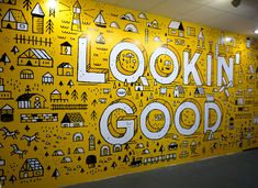 This wall mural was chosen as it makes use of simple line art but still makes the design look polished and interesting. This minimal take on a wall mural makes sure that the design doesn't end up making the wall look too cluttered and messy. Office Wall Design, Office Mural, Office Walls, Office Interior Design, Office Wall Art, Food Branding, Office Branding, Pizza Branding, Hotel Branding