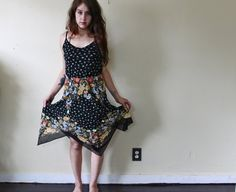 90s Grunge Black Floral Dress / handkerchief dress / 90s clothing / sheer dress / bohemian / summer dress / folk festival dress / medium