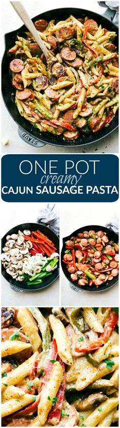 An easy one pot creamy cajun sausage and veggie pasta made healthier and a little lighter! via chelseasmessyapron.com