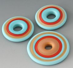 Wow cool colors!.....Santa Fe Discs - Handmade Lampwork Beads - Brick, Turquoise, Mustard - Etched, Matte by outwest via Esty