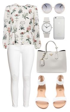 """White"" by jessicatomlinson7 on Polyvore featuring H&M, Normal Timepieces, Prada, Yosi Samra and Native Union"