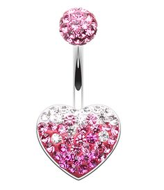 Multi CZ Heart /& Flower w// Imitation Pearl Drop 316L Surgical Steel Freedom Fashion Navel Ring