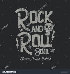 Vector illustration on the theme of rock and roll music. Vintage design.  Grunge background. Skull typography, t-shirt graphics, print, poster, banner, flyer, postcard