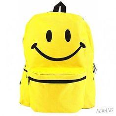 b23dce4b9213 Newang Yellow Simple Smile face Emoji School Book Bag Girls Boys Backpack  2017