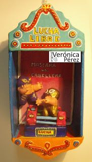 """by: originalveronicaperez@hotmail.com This my tribute to Mexican Wreslter, this paper sculpture is called """"Mascara vs. Cabellera"""" Sold in Galart the Tides, in Ixtapa Zihuatanejo. http://www.galart.net/galart/welcome_to_galart.html Original Veronica Perez"""