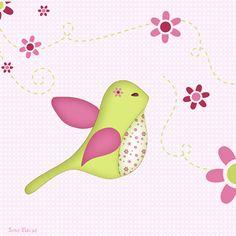 Stickers - Sweet Fabrique - Badge Bird Liberty - Decor