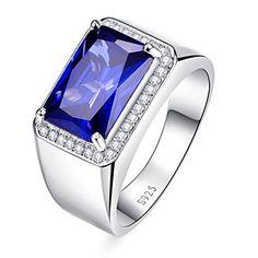 Bonlavie Men's 925 Sterling Silver 7.0 Carat Blue Sapphire Engagement Ring for Him