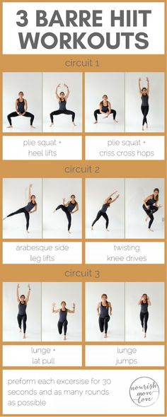 Try this barre and HIIT combo workout combining basic barre moves with high intensity interval training to strengthen and tone while increasing your metabolism and endurance.(Try Workout) Pilates Training, Pilates Barre, Mental Training, Barre Body, Killer Workouts, Lower Ab Workouts, At Home Workouts, Barre At Home Workout, Barre Moves