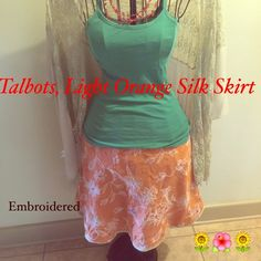 Talbot Skirt, Pure silk Pure silk Talbots skirt with embroidered floral design. Talbots Skirts Midi