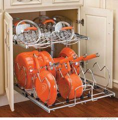 Modo fácil e prático para guardar panelas e tampas - como nas máquinas de lavar