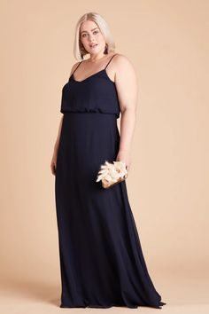 Birdy Grey Gwennie Bridesmaid Dress in Navy Blue | Dark blue chiffon plus size bridesmaid dresses under $100