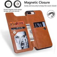 1def8b41b0 Magnetic PU Leather Wallet Case Credit Card Slots Holder Shockproof Flip  Stand Coque Zipper Wallet Case Cover for Apple iPhone 8 8 Plus/iPhone 7 7  ...