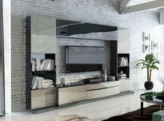 Contemporary Wall Storage System With Low TV Unit And Wall Cabinets In  Various Colour Choices