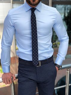 Antonia Blue Slim Fit Dress Shirt - Real Time - Diet, Exercise, Fitness, Finance You for Healthy articles ideas Blue Shirt Outfits, Mens Fall Outfits, Mens Dress Outfits, Formal Men Outfit, Summer Outfits Men, Men Dress, Dress Clothes For Men, Blue Shirts, Casual Clothes
