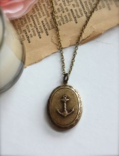 A Nautical Sailor Girl Locket Necklace. Vintage style, ships, sailors. For Wife. Sail The World. Navy. For Daughter. Unisex. Deployment.. $26.50, via Etsy.