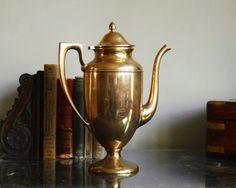 Dirigold Coffee Pot 1930s Brass Regal Teapot by CalloohCallay, $115.00