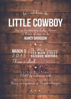 Howdy Little Cowboy | Baby Shower Invitation | Our Modern Farmhouse on etsy #cowboy #babyshower #rustic