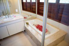 The bathroom at Villa Cacau where you can take beautiful long baths and relax