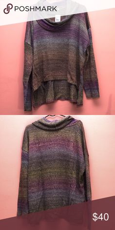 🆕 Ombré Cowl Knit Sweater Beautiful long sleeve, high low hemmed sweater. Primary colors are purple, grey (gray), yellow, & brown. Please ask if you have questions. Ceny Sweaters Cowl & Turtlenecks