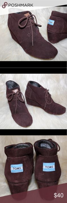 Toms Suede Ankle-High Wedges Toms cocoa brown suede wedges. Super comfortable and great for fall! Perfect condition! Feel free to make an offer or bundle! Toms Shoes Heeled Boots