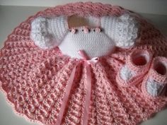 pink crochet baby dress and shoes