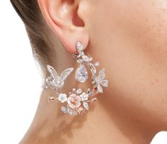 M'O Exclusive 18K White Gold Butterfly Garland Earrings
