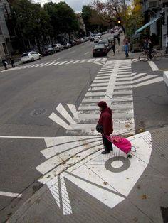 Dead fish crosswalk, by Roadsworth (Montreal, Canada).  http://roadsworth.com