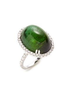 Diamond & Green Tourmaline Oval Ring by Vendoro at Gilt