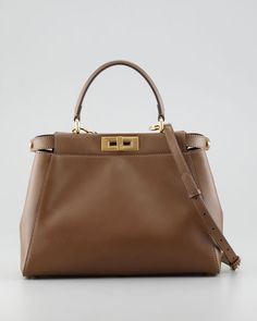 Fendi - Peekaboo Pequin-Lined Medium Tote Bag, Brown