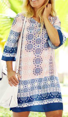 $13.01 Ethnic Style 3/4 Sleeve V-Neck Tunic Dress For Women