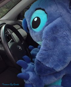 Stitch is up to his usual antics. This huge plush Stitch from Lilo & Stitch made off with my car this morning. He's 40 inches tall and the Disney Store calls him a Jumbo Stitch. A rare Disney gift idea! #stitch#liloandstitch #disney