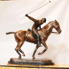 Bronze Polo Player Horse Jockey Statue Casting
