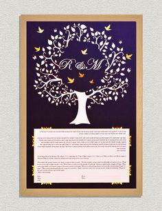 Custom Handmade Tree Ketubah with PaperCut Home Wall Art Modern Tree with Golden/Silver birds Ketubah Wedding Vow