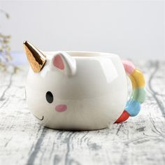 Unicorn Ceramic Coffee Cup - Also makes a great planter. Free worldwide shipping.