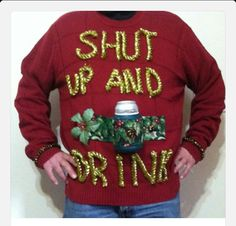 Ugly Christmas Sweater 'Shut Up And Drink' Beer Can Cooler Mens Size XXL Big and Tall Holiday Party Attire - Car Recommendation For Womans Diy Ugly Christmas Sweater, Ugly Xmas Sweater, Xmas Sweaters, Xmas Jumpers, Xmas Shirts, Tacky Christmas Party, Christmas Diy, Christmas Outfits, Xmas Party