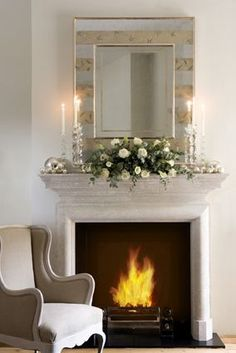 The Stirling Fireplace from Chesneys with Christmas Decorations