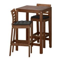 IKEA - ÄPPLARÖ Bar table and 2 bar stools Äpplarö brown stained/Stegön beige  For added durability and so you can enjoy the natural expression of the ...  sc 1 st  Pinterest & ÄPPLARÖ Bar table and 2 bar stools brown stained brown   Outdoor ...