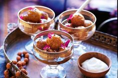 Gulab Jamun- Dive into this irrisistibly sweet, syrupy dessert after a spectacular Indian feast! Indian Wedding Food, Jamun Recipe, Gulab Jamun, Party Dishes, Wedding Catering, Food Menu, Catering Food, Food Items, Food Presentation
