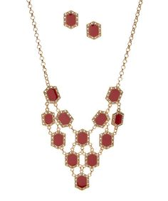 $12.99 Love this Red & Crystal Bib Necklace & Stud Earrings on #zulily! #zulilyfinds