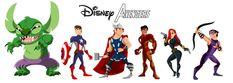 Stitch as the Hulk, Phillip as Captain America, Hercules as Thor, Naveen as Iron Man, Jessica Rabbit as Black Widow & Li Shang as Hawkeye (by RaCookie3 @deviantART)