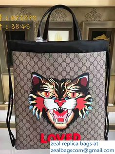 Gucci Angry Cat Print GG Supreme Drawstring Backpack 473872 2017 ccee2fe6cc361