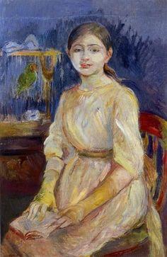 julie manet with a budgie_Berthe Morisot