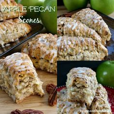 Apple Pecan Scones are delicious, full of apple chunks, chopped pecans and then drizzled with glaze. A delicious apple scone recipe perfect for Fall. Apple Cinnamon Scones Recipe, Apple Scones, Pecan Cinnamon Rolls, Easy Cake Recipes, Baking Recipes, Dessert Recipes, Bread Recipes, Apple Desserts, Apple Recipes