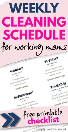 Printable cleaning schedule for working moms. A simple daily checklist to keep your home clean and tidy when you don't have a lot of time. This realisting cleaning schedule is perfect for busy moms who work outside the home. #cleanhouse #cleaningschedule #housekeeping Cleaning Schedule Printable, House Cleaning Checklist, Clean House Schedule, Weekly Cleaning, Working Mom Schedule, Daily Checklist, Bathroom Cleaning, How To Make Bed, Working Moms