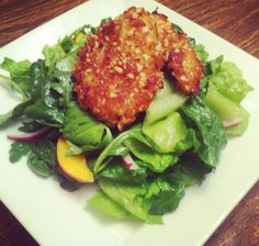 Almond Crusted Chicken and Nectarine Salad | Beyond My Recipes