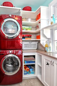 Stacked washer & dryer with shelving & cabinets - small space living  My dream laundry room!