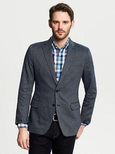 Tailored-Fit Navy Herringbone Cotton Blazer Product Image