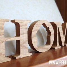 Деревянные буквы Home с фоторамкой, массив дуба